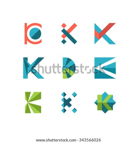 Abstract K Letter Symbols Flat Style Stock Vector Royalty Free