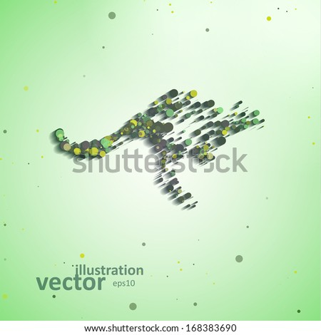 Abstract kangaroo, colorful composition elements, vector illustration eps10