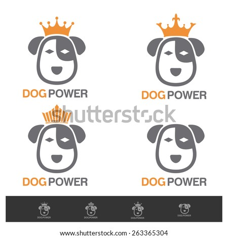 abstract king dog power logo design concept veterinary, search group, animal shelter vector logo design template - stock vector