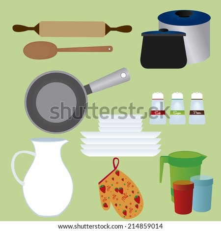 abstract kitchen tools on a green background