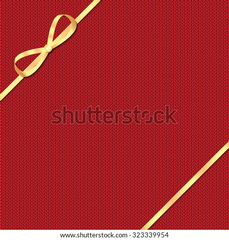 Abstract knitted pattern with gold ribbon.Celebratory background - stock vector