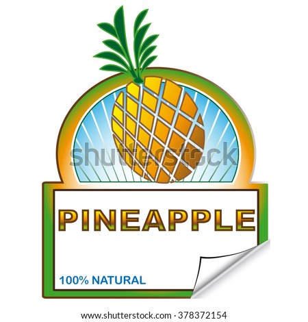 Abstract label of pineapple for marketplace