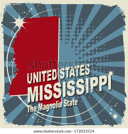 Abstract label with name and map of Mississippi, vector illustration - stock vector