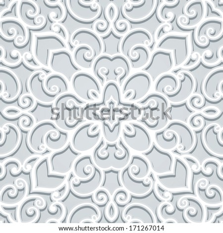 Abstract lace background, vector grey ornament, seamless pattern - stock vector