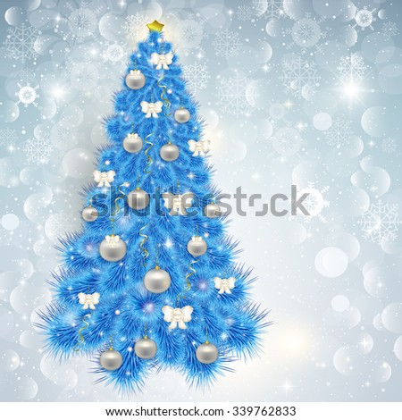 Abstract lace background with elegant Christmas blue Christmas tree with various ornaments and bows