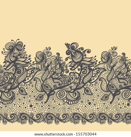 lace ribbon seamless girlish flower and squirrel abstract lace