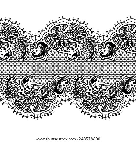 Abstract lace ribbon seamless pattern. Vector isolated - stock vector