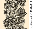 Abstract lace ribbon seamless pattern with elements flowers. Template frame design for card. Lace Doily. Can be used for packaging, invitations, and template.Vector lace ornament - stock photo
