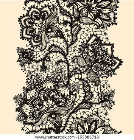 Lace Flowers Drawings Abstract Lace Ribbon Seamless