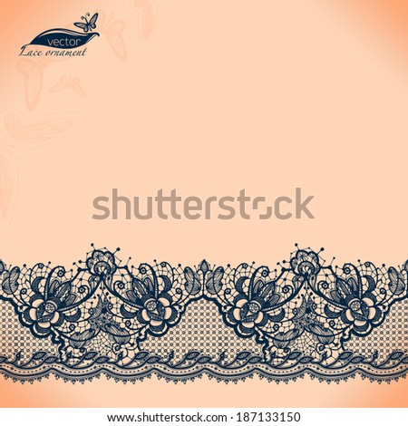 Abstract lace ribbon seamless pattern with elements flowers. Template frame design for card. Lace Doily. Can be used for packaging, invitations, and template. - stock vector