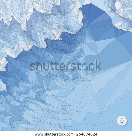 Abstract landscape background. Mosaic vector illustration. Can be used for banner, flyer, book cover, poster, web banners.