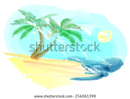 Abstract landscape with beach and sea hand painting imitation - stock vector