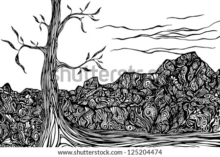 Abstract Landscape with ornate rocks and tree - stock vector