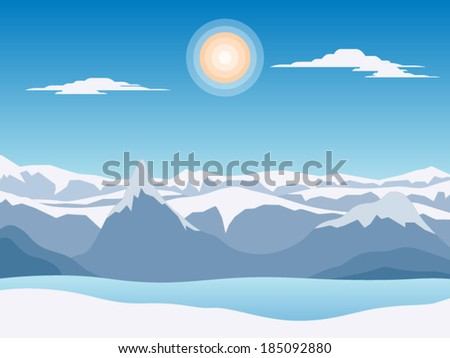 Abstract landscape with snow mountains vector illustration