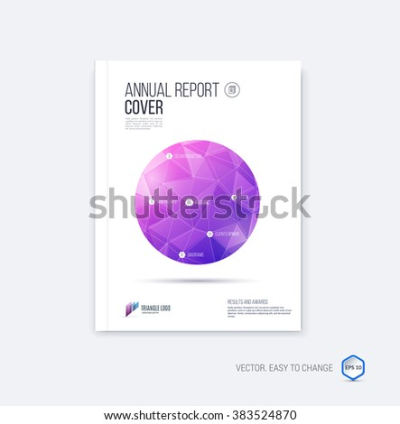 Abstract layout brochure template, cover design annual report, magazine, flyer or booklet in A4 with purple and pink circle and round geometric shapes on polygonal background. Vector Illustration. - stock vector
