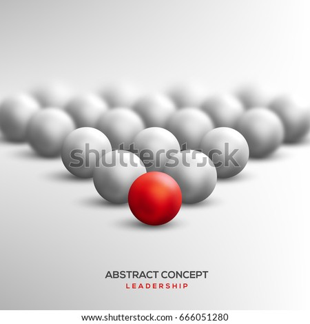 Abstract leadership concept with red ball leading white ones. Vector illustration. Business teamwork and success concept