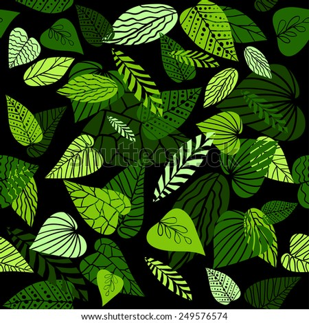 Abstract leaves pattern on dark background. Seamless pattern - stock vector