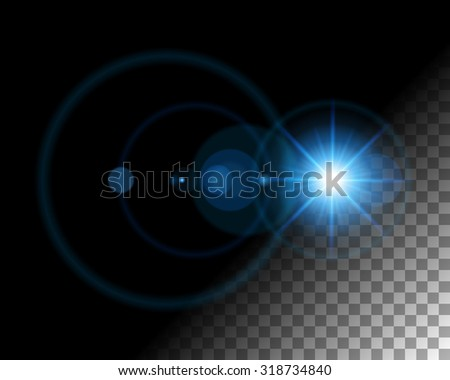 Abstract lens flare  lights on transparent background vector illustration. Easy replace use to any image. - stock vector