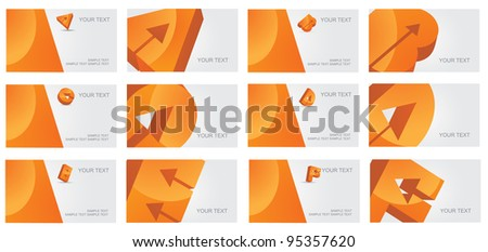 Abstract Letter A B C D E F alphabet logo symbol icon business card set EPS 8 vector, grouped for easy editing. No open shapes or paths. - stock vector