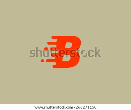 Abstract letter B logo design template.  Dynamic vector unusual font. Universal fast speed fire moving water quick energy drop icon. - stock vector