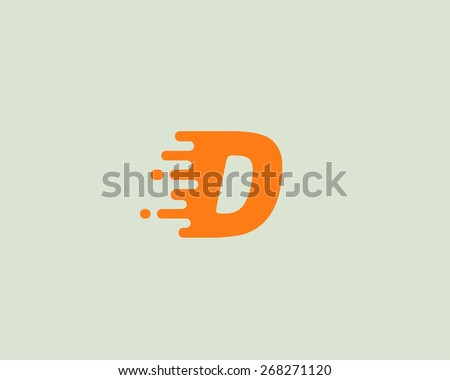 Abstract letter D logo design template.  Dynamic vector unusual font. Universal fast speed fire moving water quick energy drop icon. - stock vector
