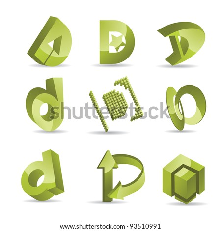 Abstract Letter D Symbols Icons EPS 8 vector grouped for easy editing. No open shapes or paths.