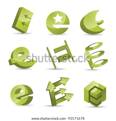 Abstract Letter E Alphabet Icon Symbol logo inspiration Set EPS 8 vector, grouped for easy editing. No open shapes or paths. - stock vector