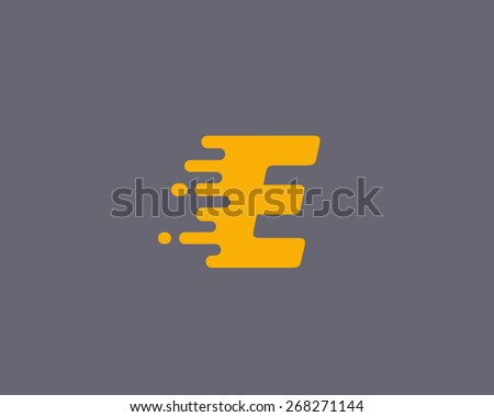 Abstract letter E logo design template.  Dynamic vector unusual font. Universal fast speed fire moving water quick energy drop icon. - stock vector