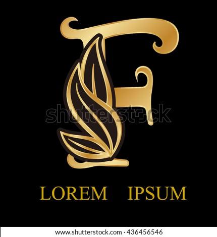 abstract letter f logo designgold beauty stock vector 436456546 shutterstock