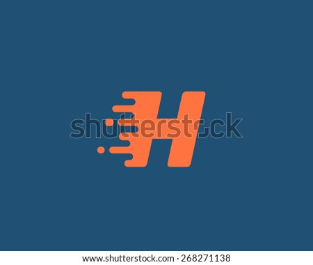 Abstract letter H logo design template.  Dynamic vector unusual font. Universal fast speed fire moving water quick energy drop icon. - stock vector