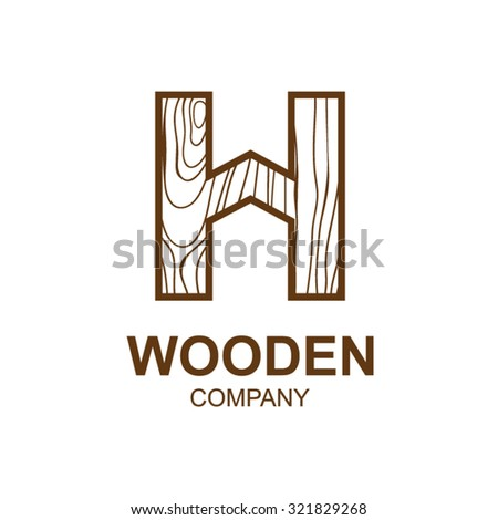 Abstract letter H logo design template with wooden texture,home,Logo design,Vector illustration,concept wood, sign,symbol,icon,Interesting design template for your company logo - stock vector