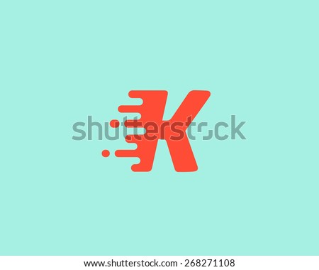Abstract letter K logo design template.  Dynamic vector unusual font. Universal fast speed fire moving water quick energy drop icon. - stock vector