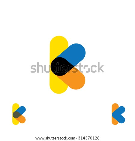 abstract letter K logo design vector template and colorful creative character icon sign - stock vector