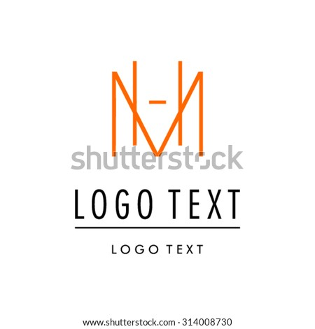 Abstract letter M H logo design template - stock vector