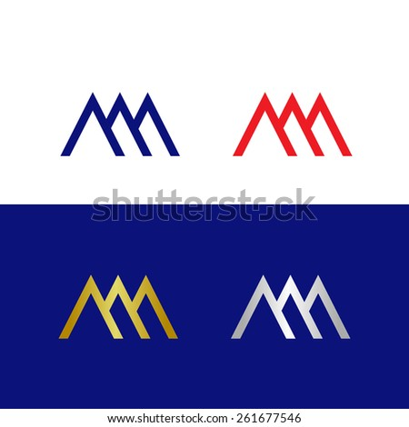 Abstract Letter M In Four Color Combinations