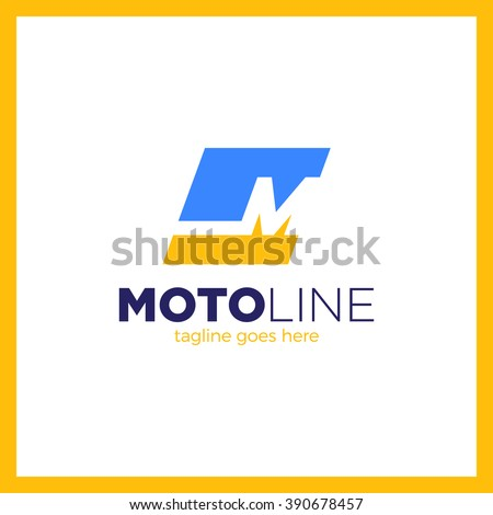 Abstract letter M logo design template. Dynamic unusual font. Line pulse Moto