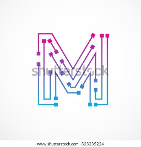 Abstract letter M logo design template,technology,electronics,digital,dot connection cross vector logo icon logotype - stock vector