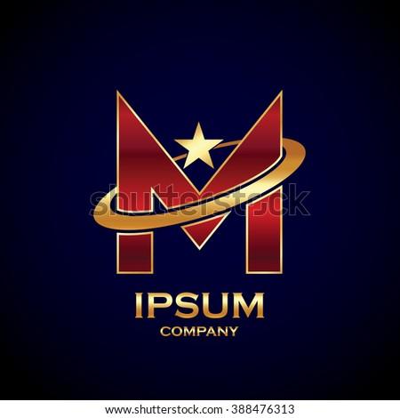 Abstract Letter M Logostar Symbolsign Saturnring Stock Vector 2018