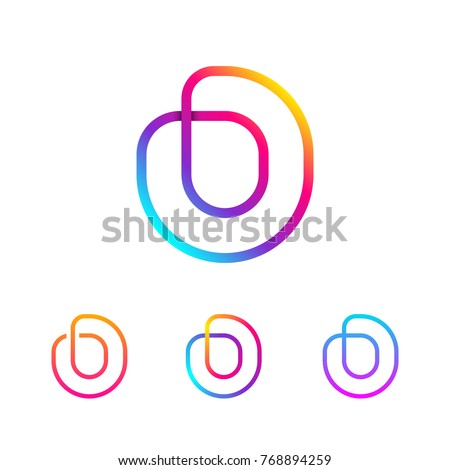 Abstract Letter O Line Monogram Colorful Stock Vector 768894259