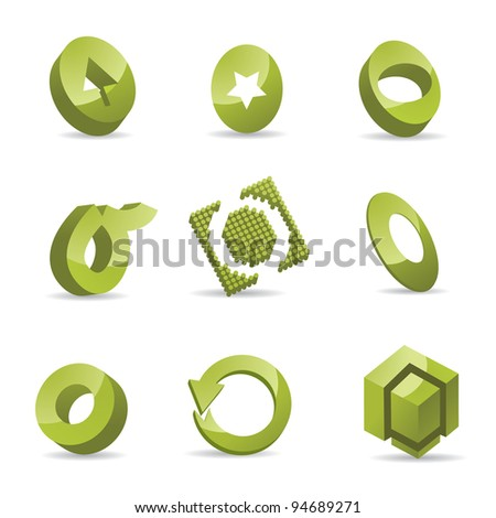 Abstract Letter O Symbol Icon Set EPS 8 vector, grouped for easy editing. No open shapes or paths.