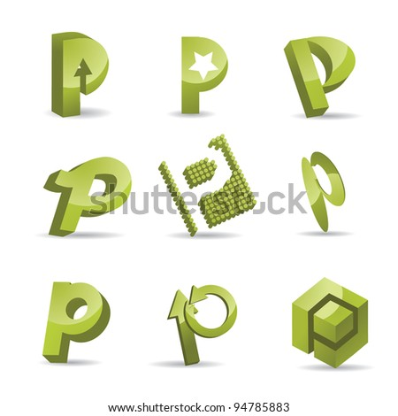 Abstract Letter P Icon Symbol Set EPS 8 vector, grouped for easy editing. No open shapes or paths.