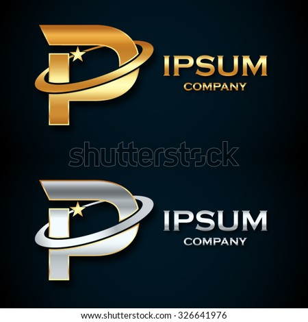 Abstract Letter P Logogold Silver Star Stock Vector Hd Royalty Free