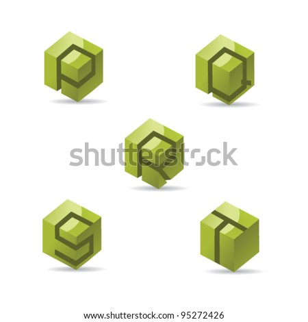 Abstract Letter P Q R S T Logo Symbol Icon Set EPS 8 vector, grouped for easy editing. No open shapes or paths. - stock vector