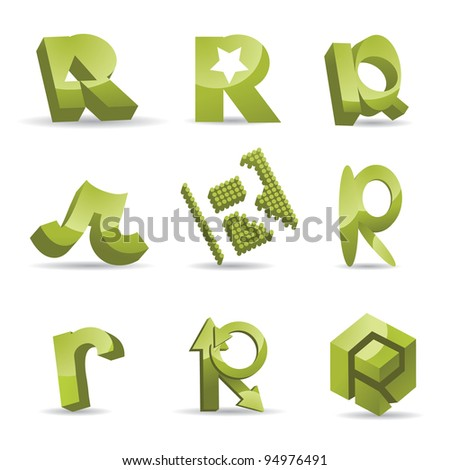 Abstract Letter R alphabet symbol icon set EPS 8 vector, grouped for easy editing. No open shapes or paths.