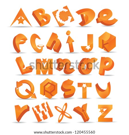 Abstract Letter Symbol Icon Set Alphabet EPS 8 vector, grouped for easy editing. No open shapes or paths. - stock vector