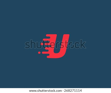 Abstract letter U logo design template.  Dynamic vector unusual font. Universal fast speed fire moving water quick energy drop icon. - stock vector