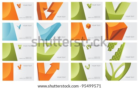 Abstract Letter V Logo Symbol Icon Business Card Set EPS 8 vector, grouped for easy editing. No open shapes or paths. - stock vector