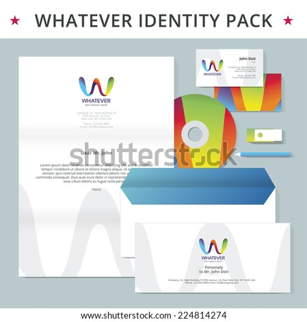 Abstract letter W identity pack vector concept. Logo, visit cards, cd, flash drive, pencil, letter, folder and other id blanks. Good for company branding set. - stock vector