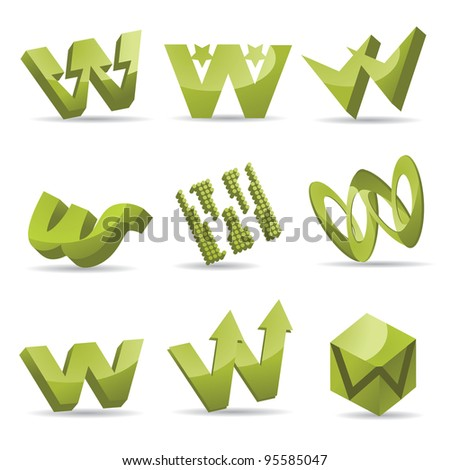 Abstract Letter W Logo Icon Symbol Set EPS 8 vector, grouped for easy editing. No open shapes or paths. - stock vector