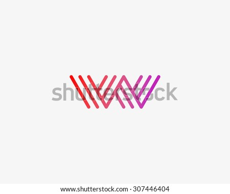 Abstract Letter W M logo design template. Line vector symbol. Premium elegant sign mark icon - stock vector